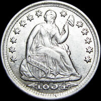 1854 SEATED LIBERTY HALF DIME SILVER US COIN       STUNNING TYPE COIN     F630