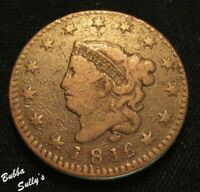 1816 CORONET HEAD LARGE CENT <> N 8 R1 LONG DENTILS BELOW 8