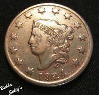 1824 CORONET HEAD LARGE CENT <> N 4 R1 WIDE DATE <> FINE