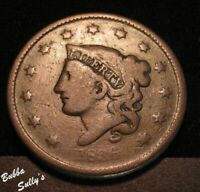 1836 CORONET HEAD LARGE CENT <> N 2 R2  THIN POINTED BUST <>