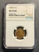 1938-D LINCOLN WHEAT CENT - NGC MINT STATE 65RD