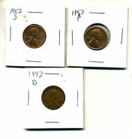 1952 P,D,S WHEAT PENNIES LINCOLN CENTS CIRCULATED 2X2 FLIPS 3 COIN PDS SET289
