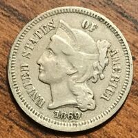 1869 UNITED STATES  3 CENT LADY LIBERTY COIN  FINE