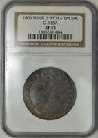 1806 DRAPED BUST HALF 50C POINT 6 WITH STEM O-115A EXTRA FINE 45 NGC 943270-10
