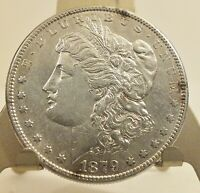 1879-S MORGAN DOLLAR - 90 SILVER -   A FEW SPOTS ON OBVERSE SIDE. SHEEN