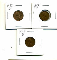 1952 P,D,S WHEAT PENNIES LINCOLN CENTS CIRCULATED 2X2 FLIPS 3 COIN PDS SET432