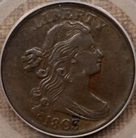 1803 S.258 SD/LF LARGE CENT PCGS XF40 CAC BROWN & SMOOTH DAVIDKAHNCOINS