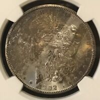1902 S MORGAN SILVER DOLLAR NGC MINT STATE 64 PQ STAR QUALITY RAINBOW TONING