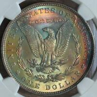 1888 MORGAN 1$ NGC MINT STATE 63  STAR REVERSE OUT RAINBOW COLOR MIKESARTIFACTS