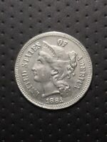 COIN THREE CENTS UNITED STATES OF AMERICA 1881