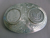 BOYD RENO DOUBLE MORGAN SILVER DOLLAR 1883-1884 STERLING SILVER BELT BUCKLE;K776