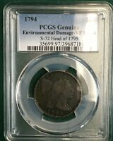 1794 HEAD OF '95 FLOWING HAIR LARGE CENT S-72, PCGS VF DETAILS, R-2
