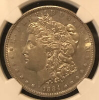 1884 S MORGAN SILVER DOLLAR NGC AU 58 GREAT EYE APPEAL  EXAMPLE