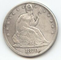 1870 SEATED LIBERTY HALF DOLLAR XF DETAILS HOLE TRUE AUCTION