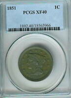 1851 BRAIDED HAIR LARGE CENT : PCGS EXTRA FINE 40