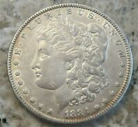 1884 MORGAN SILVER DOLLAR /  GREAT COLOR & DETAIL / SOME REVERSE TONING