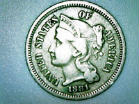 1881 NICKEL THREE-CENT PIECE AU