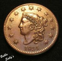 1834 CORONET HEAD LARGE CENT <> N 2 R1 SMALL DATE <> VF  DETAILS