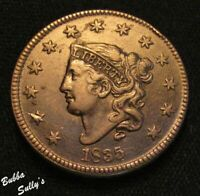 1835 CORONET HEAD LARGE CENT <> N 1 R1 LARGE 8/LARGE STARS <> VF DETAILS