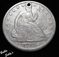 1866 S SEATED LIBERTY HALF DOLLAR <> WB 101 NO MOTTO <> HOLE