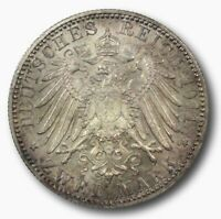 GERMANY 1911 D BAVARIA TWO 2 MARKS 90TH BIRTHDAY UNCIRCULATED BEAUTIFULLY TONED