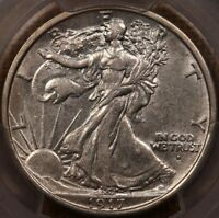 1917 D OBV WALKING LIBERTY HALF PCGS AU55 LUSTROUS PLEASING