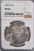 1899 O $1 MORGAN SILVER ONE DOLLAR MINT STATE 62 NGC NEW ORLEANS UNCIRCULATED