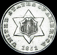 1851 SILVER THREE CENT PIECE 3CP TYPE COIN  ---- STUNNING   ----  D767