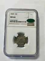1869  SHIELD NICKEL  NGC MINT STATE 64 CAC