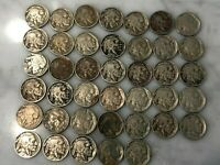 ROLL 40 BUFFALO NICKELS - MIX 1918 - 1937, ACTUAL COINS SHOWN, READABLE DATES