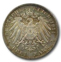 1914 J HAMBURG GERMANY 3 MARK TONED HIGH GRADE FOREIGN WORLD SILVER COIN