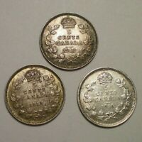 2 1913 AND 1916 CANADA 5 CENTS / 3 HIGHER GRADE COINS
