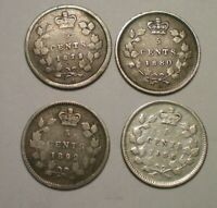 1872 1880 1892 AND 1896 CANADA 5 CENTS