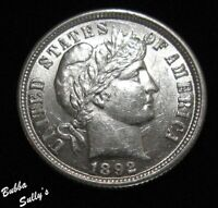1892 BARBER DIME <> STRONG OBVERSE CLASH MARKS <> ABOUT UNCI