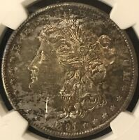 1891 S MORGAN SILVER DOLLAR NGC MINT STATE 63 RAINBOW TONING W/ PL SURFACES BEAUTIFUL