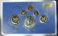 1977 SINGAPORE 6 COIN PROOF SET WITH ORIGINAL CASE & BOX 2131/3500 SOME HAZE