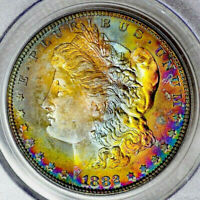 1882-S PCGS MINT STATE 64 CAC MORGAN $ SUPERB MONSTER PQ RAINBOW TONING XX