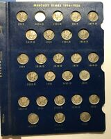 1916 TO 1945 MERCURY DIME COLLECTION / 77 COINS // MISSING O