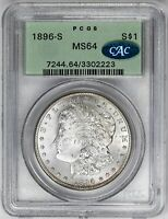 1896-S $1 MORGAN DOLLAR - PCGS MINT STATE 64 CAC APPROVED. PQ OLD HOLDER