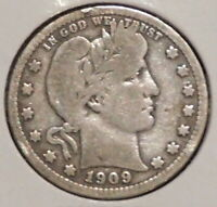 BARBER QUARTER - 1909 - HISTORIC SILVER - $1 UNLIMITED SHIPPING.