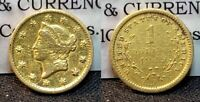 $1 1849 O TYPE 1 LIBERTY HEAD GOLD DOLLAR  DETAILS OBVERSE POLISHED