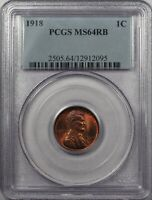 1918-P LINCOLN CENT NGC MINT STATE 64RB GREAT EYE APPEAL STRONG STRIKE