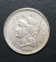 1865 3 CENT NICKEL COIN   NICE ORIGINAL SURFACES