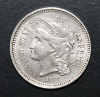 1867 3 CENT NICKEL NICE AU AND BETTER THAN AVERAGE STRIKE