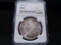 1885-S MINT STATE 62 MORGAN SILVER DOLLAR NGC CERTIFIED - BRIGHT WHITE/LIGHT GOLD RIM TON