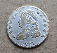 1821 CAPPED BUST DIME SMALL DATE JR 10 R4  VARIETY VF DETAILS