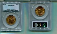 1911 P $10 INDIAN HEAD GOLD COIN PCGS MS61