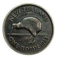 1933 NEW ZEALAND 1 FLORIN   BLACKENED HI GRADE WORLD SILVER COIN
