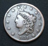 US 1834 CORONET HEAD LARGE CENT 1C CLEANED 186 YEARS OLD CULL COPPER COIN