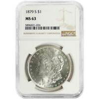 1879-S $1 MORGAN SILVER DOLLAR NGC MINT STATE 63 BROWN LABEL